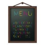 Tarjeta del menú del café con alfabeto coloreado de la tiza Fotografía de archivo libre de regalías