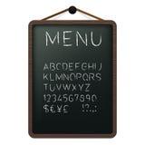 Tarjeta del menú del café con alfabeto de la tiza Foto de archivo libre de regalías