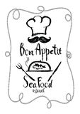 Tarjeta del menú del restaurante de Bon Appetit Sea Food Fotografía de archivo libre de regalías