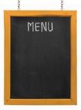 Tarjeta del menú del restaurante en la pizarra fotos de archivo libres de regalías