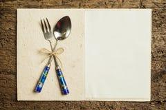 Tarjeta del menú del vintage Imagen de archivo