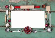 Tarjeta del menú o de la invitación del estilo rural en los colores verdes y rojos FO Imagen de archivo libre de regalías