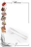 Tarjeta del menú para los mariscos en blanco. Imagenes de archivo