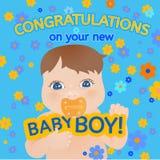 Tarjeta del mensaje del bebé Fotos de archivo libres de regalías