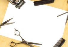 Tarjeta del mensaje del peluquero Fotos de archivo libres de regalías
