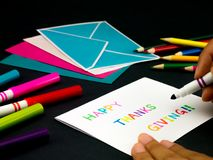 Tarjeta del mensaje para su familia y amigos; Acción de gracias feliz Imagen de archivo libre de regalías
