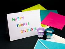 Tarjeta del mensaje para su familia y amigos; Acción de gracias feliz Fotografía de archivo