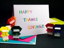Tarjeta del mensaje para su familia y amigos; Acción de gracias feliz Imágenes de archivo libres de regalías