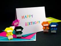 Tarjeta del mensaje para su familia y amigos; Feliz cumpleaños Foto de archivo
