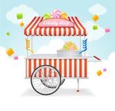 Tarjeta del mercado del carro del caramelo Vector Fotos de archivo