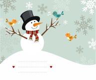 Tarjeta del muñeco de nieve Fotografía de archivo libre de regalías
