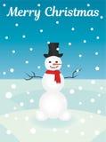 Tarjeta del muñeco de nieve de la Feliz Navidad Imagen de archivo