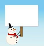 Tarjeta del muñeco de nieve del vector para la Navidad imagen de archivo libre de regalías