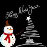 Tarjeta del muñeco de nieve del vector para la Navidad foto de archivo