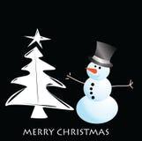 Tarjeta del muñeco de nieve del vector para la Navidad fotos de archivo