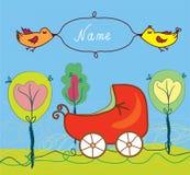 Tarjeta del nacimiento del bebé con el cochecito de niño y árboles y marco Fotografía de archivo libre de regalías