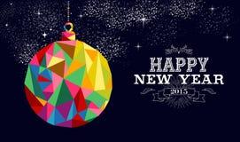 Tarjeta 2015 del ornamento de la chuchería del Año Nuevo Fotografía de archivo