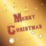 Tarjeta del oro de la Feliz Navidad ilustración del vector