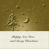 Tarjeta del oro de la Navidad Imagenes de archivo