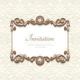 Tarjeta del oro del vintage con la decoración de la joyería del diamante libre illustration