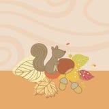 Tarjeta del otoño con la ardilla Foto de archivo