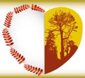 Tarjeta del otoño del saludo con las hojas, el corazón y las siluetas de árboles stock de ilustración