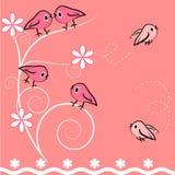 Tarjeta del pájaro y de la planta de la historieta. ilustración. Fotos de archivo libres de regalías