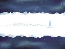 Tarjeta del paisaje de la montaña del invierno con el snowboarder Imagenes de archivo