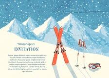 Tarjeta del paisaje de la montaña del invierno del esquí ilustración del vector
