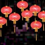 Tarjeta del paisaje del efecto de la noche de la linterna Imagenes de archivo