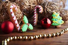 Tarjeta del pan de jengibre de la Navidad Fotos de archivo libres de regalías