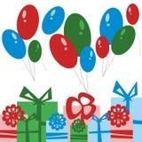 Tarjeta del partido Cajas y globos de regalo Imagen de archivo