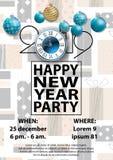 Tarjeta del partido 2019 de la Feliz Año Nuevo para su diseño libre illustration