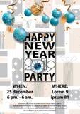 Tarjeta del partido 2019 de la Feliz Año Nuevo para su diseño stock de ilustración