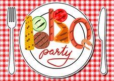 Tarjeta del partido del Bbq Fotografía de archivo libre de regalías