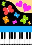 Tarjeta del piano con las mariposas y los corazones Foto de archivo