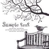 Tarjeta del pájaro y del árbol Foto de archivo libre de regalías