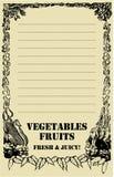 Tarjeta del precio de la fruta y verdura Imagen de archivo libre de regalías