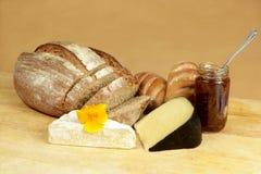 Tarjeta del queso con pan de centeno Fotografía de archivo libre de regalías