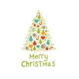 Tarjeta del árbol de navidad Foto de archivo libre de regalías
