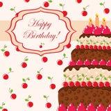 Tarjeta del regalo con la torta de cumpleaños Foto de archivo libre de regalías