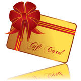 Tarjeta del regalo del oro Imagen de archivo libre de regalías