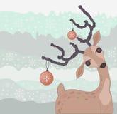 Tarjeta del reno de la Navidad Fotografía de archivo libre de regalías