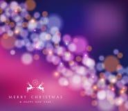 Tarjeta del reno del bokeh de la Feliz Año Nuevo de la Feliz Navidad Fotos de archivo