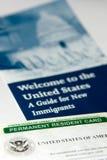 Tarjeta del residente permanente de los E.E.U.U. Foto de archivo libre de regalías