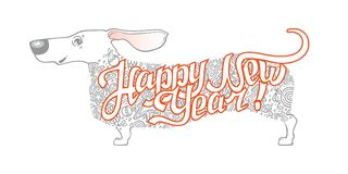 Tarjeta del ` s del Año Nuevo con el perro divertido dachshund Imagen de archivo