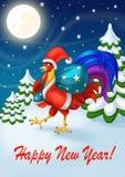 Tarjeta del ` s de la Feliz Año Nuevo del día de fiesta Santa Claus Rooster con un bolso de regalos Celebración del Año Nuevo Stock de ilustración