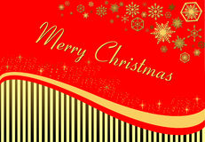 Tarjeta del ` s del Año Nuevo en un fondo rojo con las rayas ilustración del vector