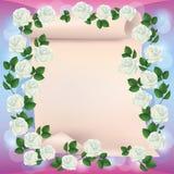 Tarjeta del saludo o de la invitación con el papel y las rosas stock de ilustración