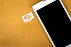 Tarjeta del sim del adaptador de la tarjeta micro del sim al sim básico Fotografía de archivo libre de regalías